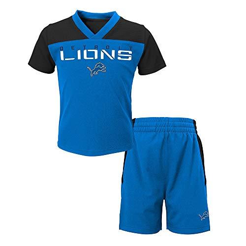 Outerstuff Detroit Lions NFL Blue Coil V-Neck T-Shirt & Shorts Set Toddler (2T-4T)