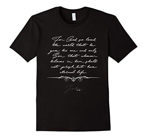 Men's Christian Bible Verse Quote Scripture T-Shirt – John 3:16 XL Black