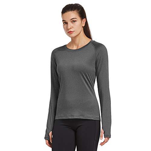 Ogeenier Sneldrogende trainingstops voor dames, met duimgat, actieve sport, gym shirts fitness top