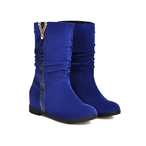 AllhqFashion Womens Round Closed Toe Low Heels Frosted Mid Top Solid Boots Blue VOGpPaU