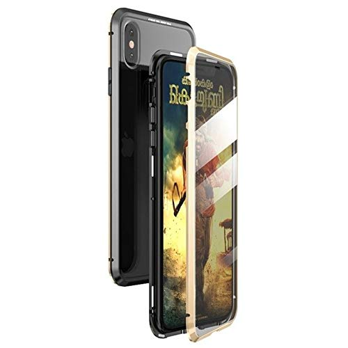 Magnetic Case for iPhone X XS MAX 7 8 Plus Coque Metal Phone Fundas Cover Double Sided Tempered Glass 360 Full Protective Carcasa (iPhone X,Black ...