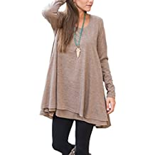 Floral Find Women Long Sleeve Blouse Layered Scoop Neck Tunic Loose Fit Dress