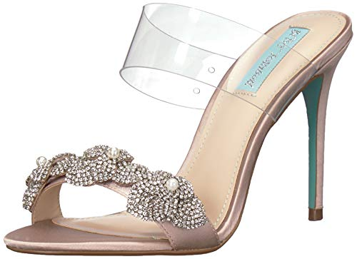 Blue by Betsey Johnson Women's SB-ADEL Heeled Sandal, Nude Satin, 8 M US