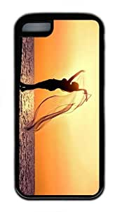 make cover beach sunset girl silhouette TPU Black Case for iphone 5C