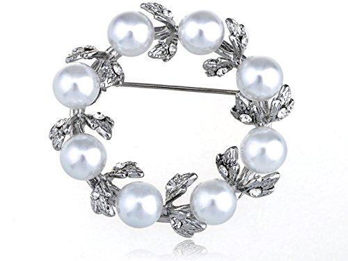 Bridal White Faux Pearl Bead Reef Wreath Classic Crystal Rhinestone Pin (Pearl Wreath Brooch)