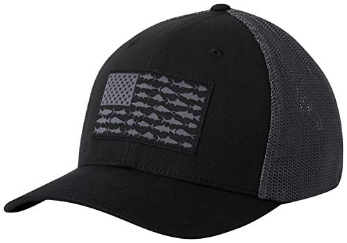 - Columbia Unisex PFG Mesh Fish Flag Ball Cap, Black, Graphite, Small/Medium