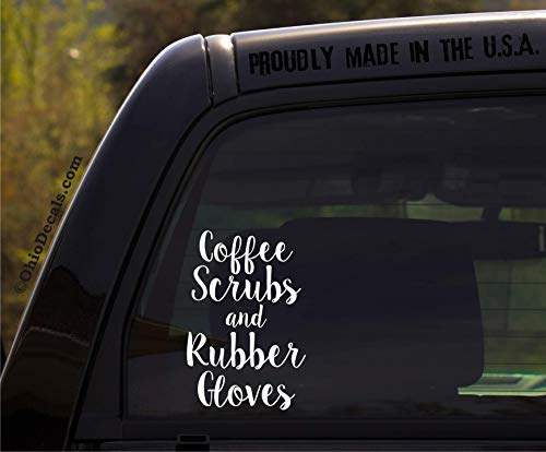 OhioDecals.com Coffee Scrubs and Rubber Gloves - Window Sticker/Decal