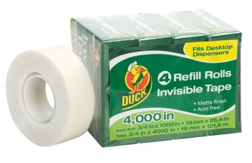 Duck Brand Invisible Matte Finish Acetate Tape, 3/4-Inch x 1000 Inches, 4 Refill Rolls - Material Acetate