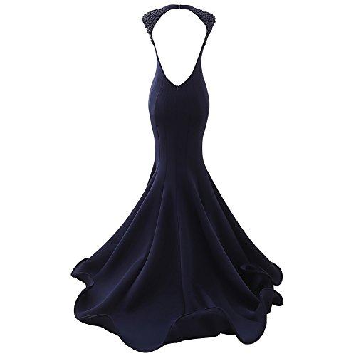 Prom Sirena Indietro Aperto Dress Con Donne Satin Perline Nuziali Scollo A V Bess Fucsia xgxBTH4