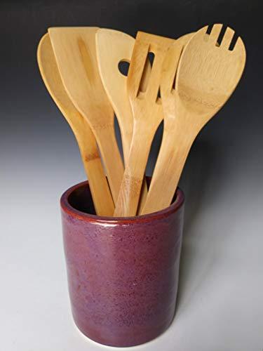 Handmade Utensil Holder, Ceramic Stoneware Pottery, Purple Violet, Includes 6 Piece Bamboo Set