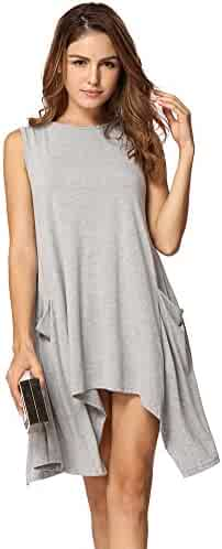 f6f985a8599 Anself Women Casual Swing T-Shirt Dresses with Pockets Tunic Tank Tops