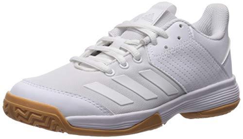 adidas Unisex Ligra 6 Volleyball Shoe, White/Gum, 3 M US Little Kid (Best Girls Volleyball Shoes)