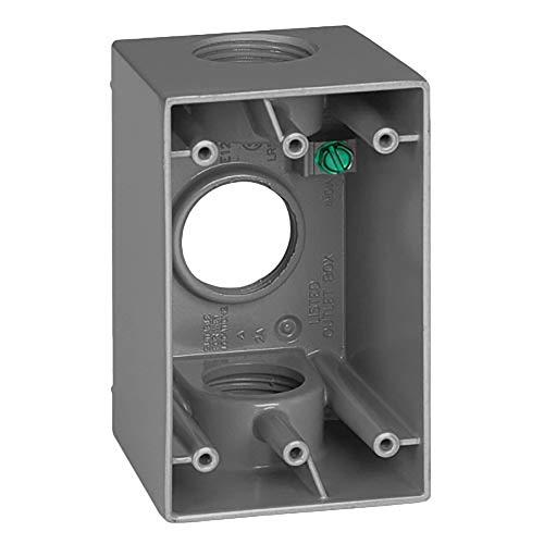 Sigma Electric 14257 1-Inch 3 Hole 1-Gang Deep Box, Gray