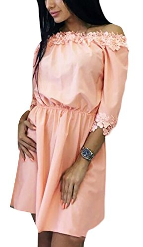 Mini Sexy Dress Patchwork Lace Womens Jaycargogo Shift Pink Shoulder Off 7Tq0RRw