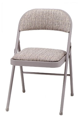 MECO 4-Pack Deluxe Fabric Padded Folding Chair, Chicory Lace Frame and Motif Fabric Seat and ()
