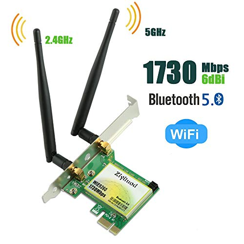Ziyituod PCIe WiFi Card, Bluetooth 5.0 AC 1730Mbps Wireless PCI Express Network Adapter, Wi-Fi Card Dual Band 2.4GHz 300Mbps or 5GHz 1430Mbps Wireless PCI-e Card for Desktop, Support Windows 10