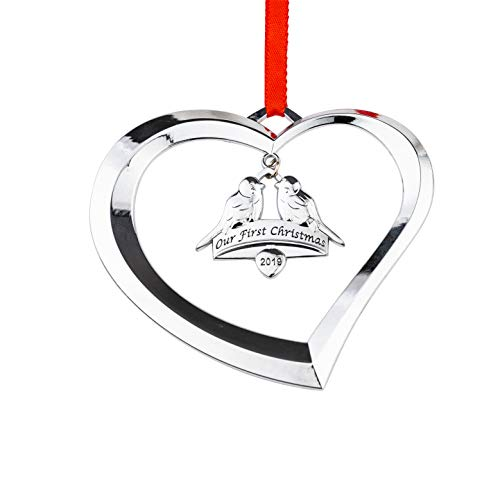 Holiday Jingles Our First Christmas Ornament 2019 | Nickel-Plated Heart and Doves Ornament Decoration for Newlyweds and Couples | Personalized Photo Ornament Keepsake for Xmas