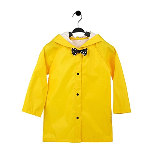 Meijunter Kids Bowknot Lightweight Breathable Rainwear Poncho Hooded Raincoat - Yellow Kids Poncho