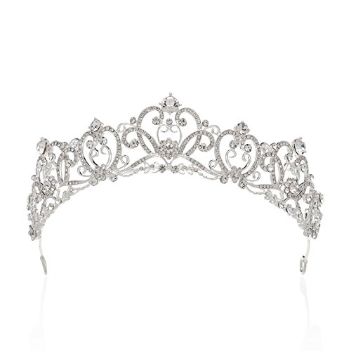 SWEETV Retro Jeweled Head Pieces Crystal Tiaras and Crowns Rhinestone Hair Accessories for Women, (Jeweled Crown)