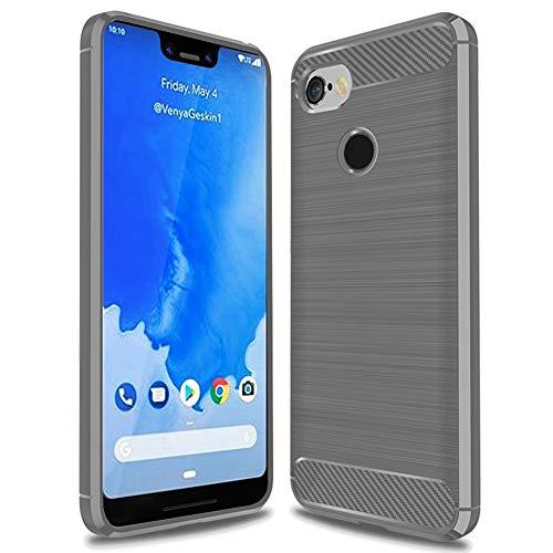 Google Pixel 3 XL case, [Not fit for Google Pixel 3] MAIKEZI Soft TPU Brushed Anti-Fingerprint Full-Body Protective Phone Case Cover for Google Pixel 3 XL (Gray Brushed TPU)
