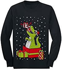 T-Rex Dinosaur Ugly Xmas Sweater Toddler/Kids Long Sleeve T-Shirt