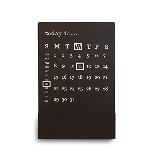 Today is Classic Black 18 x 12 Iron Perpetual Calendar with Magnet Markers