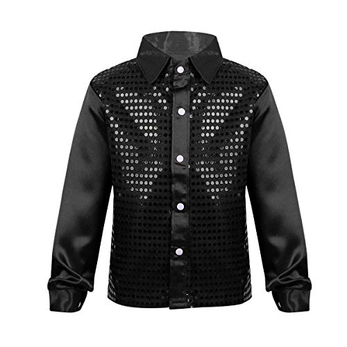 iEFiEL Kids Boys Teens Sequins Long Sleeve Shirt Party for Choir Jazz Dance Stage Performance Wedding Dance Costumes Black -