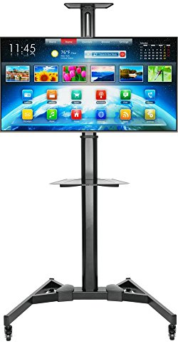 PriMount Universal Telescopic Height Adjustable Mobile Smart TV Cart TV Stand with Mount for LED LCD Plasma Flat Panel Screens and Displays 37