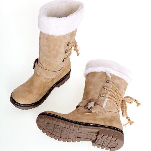 Punta Donna Moda Neve Minetom Rotonda Female Stivali Snow Flats Giallo Autunno Boots Pelliccia Inverno Shoes tPdqxw