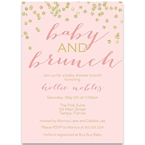 Baby Shower Invitations, Baby and Brunch, Blush, Gold, Champagne, Mimosa, Toast, Girl, Confetti, Glitter, Set of 10 Custom Printed Invites with White Envelopes