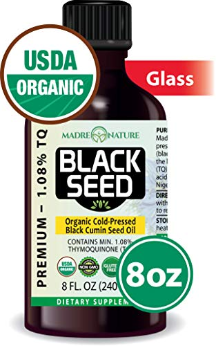 100% USDA Organic Certified Premium Black Cumin Seed Oil | GLASS BOTTLE | Darkest, Highest TQ 1.08% | Nigella Sativa | Undiluted | Cold Pressed, No Solvents | Certified Vegan, Non-GMO (8 ounce) ()