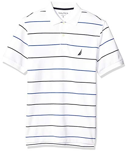 (Nautica Men's Classic Fit Short Sleeve 100% Cotton Pique Stripe Polo Shirt, Bright White, Small)