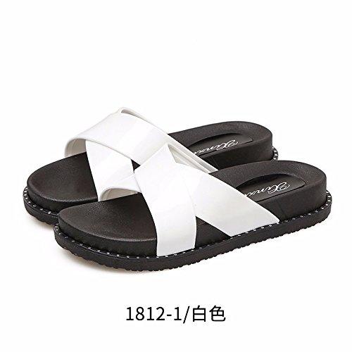 LiUXINDA-XZZ® Zapatillas de verano para mujer, zapatillas de playa de verano, zapatos de playa, parte inferior plana, desgastados por zapatillas coreanas. blanco