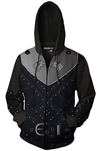 GoT Jon Snow Night's King Tyrion Lannister Hoodie 3D Printed Sweatshirt Zip-up Coat Jacket Cosplay Costume (M, Jon -