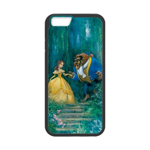 Fayruz- Personalized Protective Hard Textured Rubber Coated Cell Phone Case Cover Compatible with iPhone 6 & iPhone 6S - Beauty and The Beast Princess Belle F-i5G589