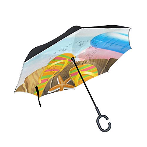 Premium Flip Flop Seat - THENAHOME Reverse Inverted Auto Open Umbrella Compact Lightweight Straight Umbrellas with Seaside Flip-Flops Lifebuoy for Car & Outdoor