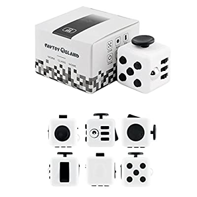 FAVTOY ISLAND - 6 Way Fidget Stress Relief Cube, Anxiety Reduction Toy Cube for Adults and Children - White and Black