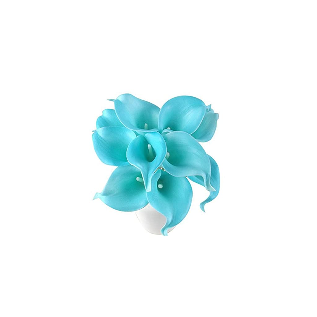 Latex Real Touch Artificial Jade Blue Calla Lily Flower Bouquet Wedding Party Home Bedroom Garden Restaurant Decoration – Bunch of 10
