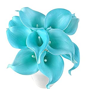 Latex Real Touch Artificial Jade Blue Calla Lily Flower Bouquet Wedding Party Home Bedroom Garden Restaurant Decoration - Bunch of 10 4