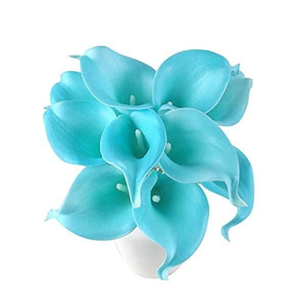 Latex Real Touch Artificial Jade Blue Calla Lily Flower Bouquet Wedding Party Home Bedroom Garden Restaurant Decoration - Bunch of 10