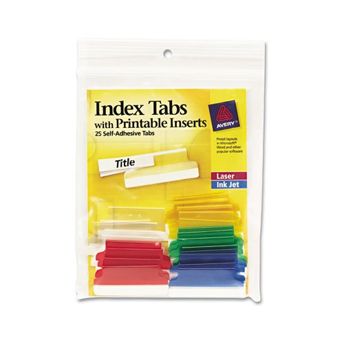 New Avery - Self-Adhesive Tabs, Printable Inserts, 1 1/2 Inch, Assorted Tab, White, 25/Pack 16228 (DMi PK for sale