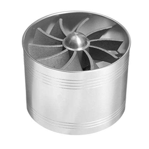 JenNiFer Universal Single Supercharger Turbine Turbocharger Air Intake Fan Fuel Gas Saver - Silver: