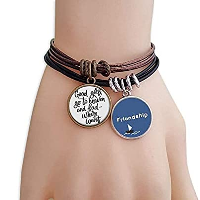 Good Girls Heaven and Bad Where Want Friendship Bracelet Leather Rope Wristband Couple Set Estimated Price -