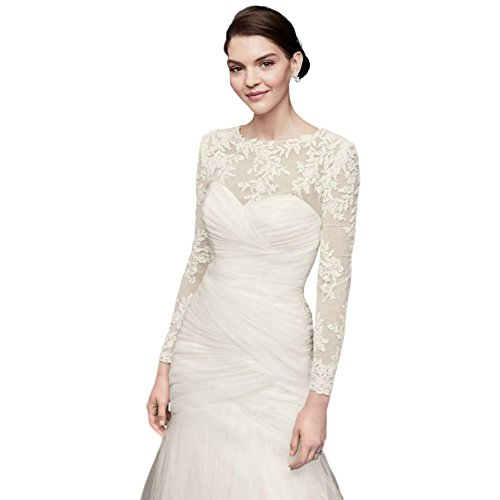 Embroidered Lace Long-Sleeve Dress Topper Style OW2006, Ivory, 12 by David's Bridal