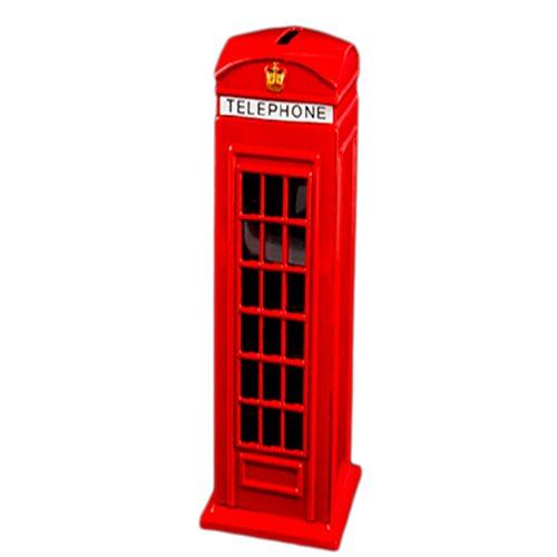 Price comparison product image FunnyToday365 Metal Red British English London Telephone Booth Bank Coin Bank Saving Pot Piggy Bank Red Phone Booth Box 140X60X50Mm Hooks