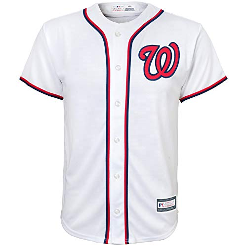Washington Nationals Blank White Youth Cool Base Home Replica Jersey (Medium (Womens Mlb Replica Jersey)