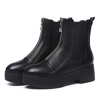 AIMENGA Zapatos De Mujer Ocasionales Cálidas, Además De Botines De Plataforma De Cremallera Delantera De