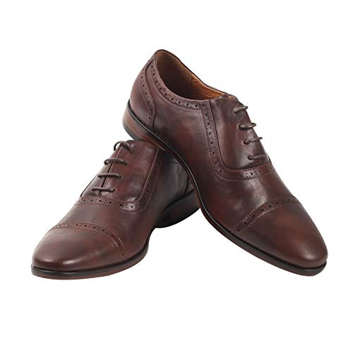 (Mens Oxford Wingtip Lace Dress Shoes (10, Dark Brown))