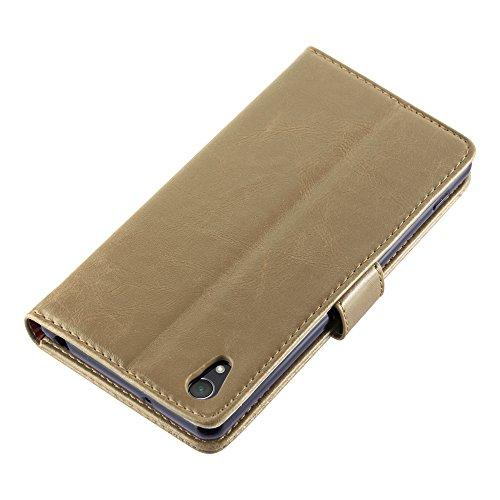 Cadorabo - Funda Estilo Book Lujo para Sony Xperia Z2 con Tarjetero y Función de Suporte - Etui Case Cover Carcasa Caja Protección en NEGRO-GRAFITO MARRÓN-CAPUCHINO
