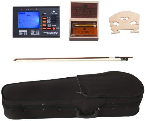Size 12-Inch Cecilio CVA-500 Solidwood Ebony Fitted Viola with DAddario Prelude Strings